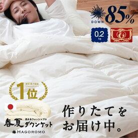 日本製 羽毛ダウンケット 夏用羽毛肌掛け布団 0.2kg シングル ロング日本製 夏用ダウンケット 国産 羽毛ふとん 高品質エクセルゴールドラベル ダウン85% 0.2kg シングルロング 洗える 肌掛