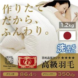 羽毛布団 日本製 シングル ロング 工場直送日本製 国産 羽毛布団 シングル 高品質 1.2kg 総重量約2.0kg 送料無料 ダウン85% フェザー15% 年中使用可能 高品質 洗える 羽毛 シングル 掛布団 工場直送