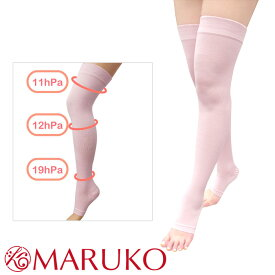 おやすみ着圧オーバーニーソックス 【日本製】ピンク シルクの保湿効果×かかと美容サポーター レディース MARUKO マルコ 引き締め 美脚 着圧ソックス 下半身 太もも 脚 冷え性 むくみ