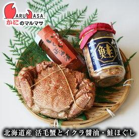 北海道産 活毛がに&いくら醤油漬け&熟成鮭手ほぐし 海鮮セット(活毛ガニ1尾・イクラ醤油・ほぐし鮭)父の日 ギフト