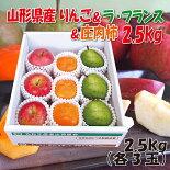 山形県産「ラ・フランス&ふじりんご&庄内柿」詰合せ2.5kg(各3玉)