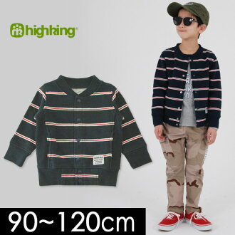 Hiking 1182-1138-1-MG rough aweat cardigan[90-120cm]kids tops outer cardigan long sleeves haori fastening in front back raising border Shin pull children's clothes highking 4019649