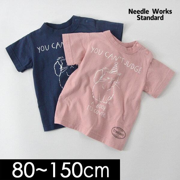 【メール便可】ニードルワークススタンダード 319016-15M ネコプリント半袖Tシャツ キッズ ベビー ジュニア トップス シンプル かわいい ねこちゃん 子供服 Needle Works Standard 4020297