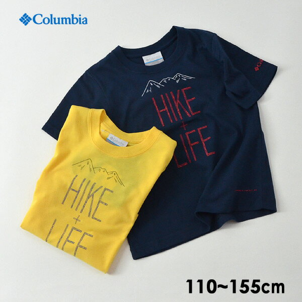 【メール便可】コロンビア PY2033-LM HIKE+LIFE Tシャツ キッズ ジュニア トップス 半袖 カットソー シンプル プリント コラボT 防虫加工 紫外線カット アウトドア 子供服 Columbia 4020642
