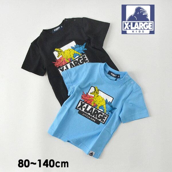 【メール便可】エクストララージキッズ 9492210-14M 恐竜プリントロゴ半袖Tシャツ キッズ ベビー トップス 半袖 ダイナソー ロゴ アウトドア 子供服 XLARGE KIDS 4020787