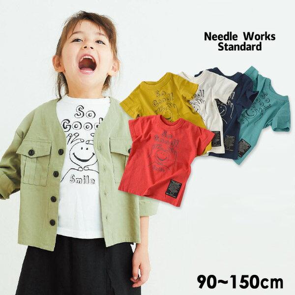 【メール便可】ニードルワークススタンダード 319002-15M Smile T-shirt キッズ ベビー トップス 半袖 Tシャツ プリント シンプル ロゴ 子供服 Needle Works Standard 4020913