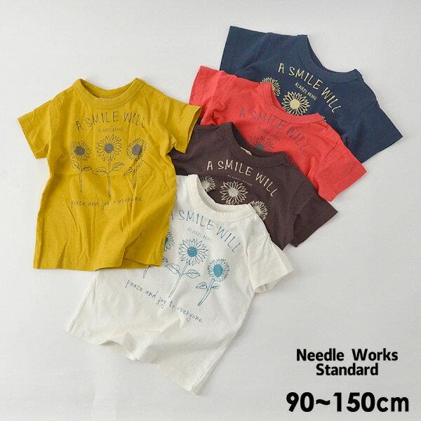 【メール便可】ニードルワークススタンダード 319005-15M Sun Flower T-shirt キッズ ベビー トップス Tシャツ プリント シンプル 子供服 Needle Works Standard 4020914