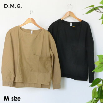 Domingo patchwork pullover shirt 16-496E-2m Lady's tops long sleeves plain fabric Shin pull Mother's Day D.M.G 2002252