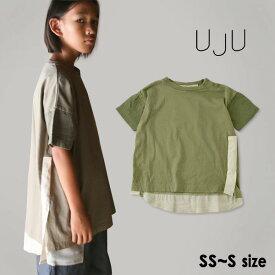 【40%OFF】【メール便可】ウジュ 109UJ91ATS1-S(M) サイドラインのビッグTシャツ キッズ ベビー トップス 半袖 Tシャツ 無地 切替 シンプル おでかけ 日本製 女の子 女児 子ども 子供服 UJU 4020882 19fn-t【SALEsaleセールバーゲン】
