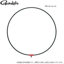 (c)【取り寄せ商品】 がまかつ タモ枠 (ワンピース/ジュラルミン) GM836 (ブラック×レッド 35cm) (2021年モデル)