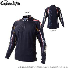 (c)【取り寄せ商品】 がまかつ ストレッチロングスリーブシャツ GM-3625 (カラー:ブラック) (2021年春夏モデル)