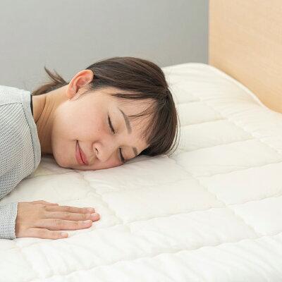03BASIC洗えるベッドパッドコットン100%キナリS(シングル)[ウォッシャブルコットン洗濯可洗濯中厚手綿100敷きパッドベッドパット汗取吸湿国産日本製丸三綿業]
