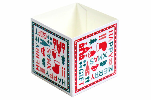 【クリスマス】キューブカップ クリスマスギフト(60mm)10枚【紙製カップ】