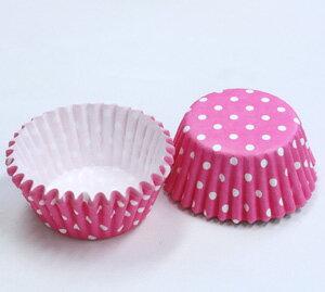 水玉ペットカップピンク1本(約300枚)【紙型・使い切り】【オーブン可】