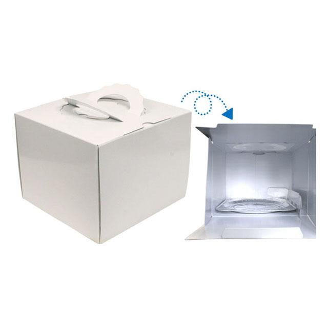 【デコレーションケーキ用ボックス】特許商品 スペースデコH178TSD白無地6寸(アルミトレー付)1枚
