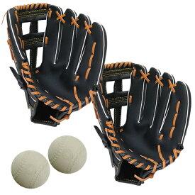 成人用野球グローブ2個と練習球2個セット