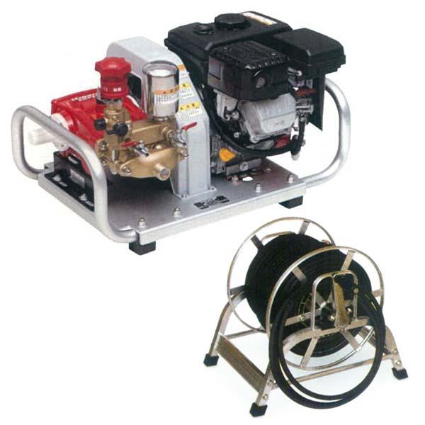 【KIORITZ/共立】セット動噴 HPE260 & スプレーホース(高圧用 8.5φ×50m) & アルミ巻取器セット(連結ホース・ボールコック付)[エンジン/動力噴霧機/噴霧器/動噴/防除機]