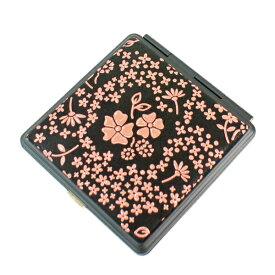 印伝 甲州印伝 印傳屋 角ミラー 鏡 カガミ 5015 アメリカンブルー 黒地×ピンク漆 女性用 レディース 花柄 YM02