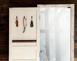 ドアミラー「Rouenルーアン」木製ドア付きスタンドミラー姿見全身鏡カバー付き扉付き収納付きシャビーシックフレンチカントリーヴィンテージアンティークおしゃれディスプレイ【送料無料】