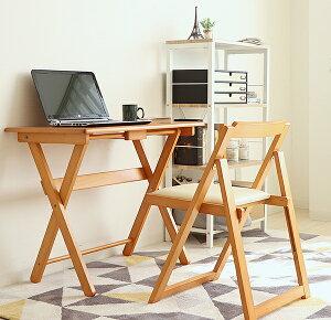 木製折りたたみデスク&チェア2点セット木製デスク&椅子折り畳みテーブルPCデスク作業机学習机リビング学習の勉強机、テレワークにもナチュラル・ブラウンシンプル軽量コンパクト省スペース40-73440-735[d]