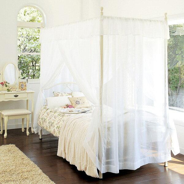 姫系天蓋付きベッド  ロマンティックなお姫様ベッドでプリンセス気分!シャビーシック【送料無料】