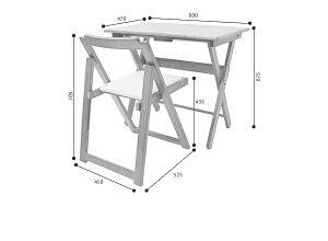 コンパクトに折りたためる天然木製デスクとチェアのセット。