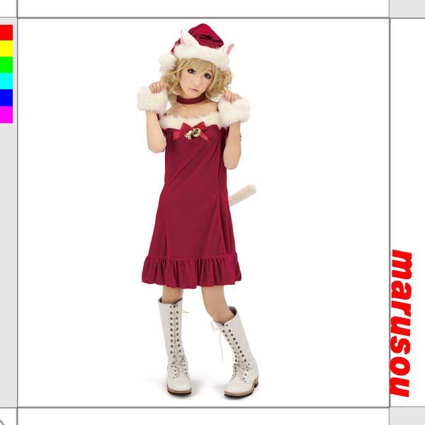 キャットサンタガール【ジグ1521】クリスマス・X'mas・パーティーグッズ・コスチューム・サンタ・衣装・仮装・レディース・女性用【送料無料】