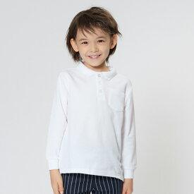 【子供服】 TARKER (ターカー) 鹿の子長袖無地白ポロシャツ 100cm〜160cm U76500