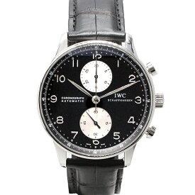 インターナショナルウォッチカンパニー IWC ポルトギーゼ クロノグラフ IW371404 黒文字盤 SS/革 メンズ腕時計 自動巻き ベルト社外