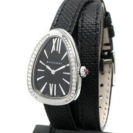 美品! 定価79万 ブルガリ BVLGARI セルペンティ ツイスト ユア タイム SAP102921 黒文字盤 ダイヤ/SS/革 レディース腕時計 クォーツ