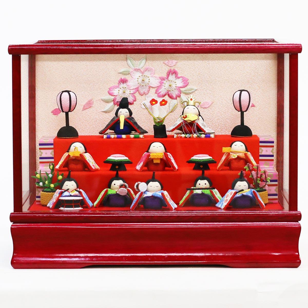 【あす楽_etc】 雛人形 リュウコドウ コンパクト ちりめん雛 プレミアムわらべ雛 10人揃い オルゴール付きケース飾り 赤 雛人形 HNRK-MRT-C (BE1-344 303R)ひな人形 かわいい 雛 ひな人形 小さい ミニ