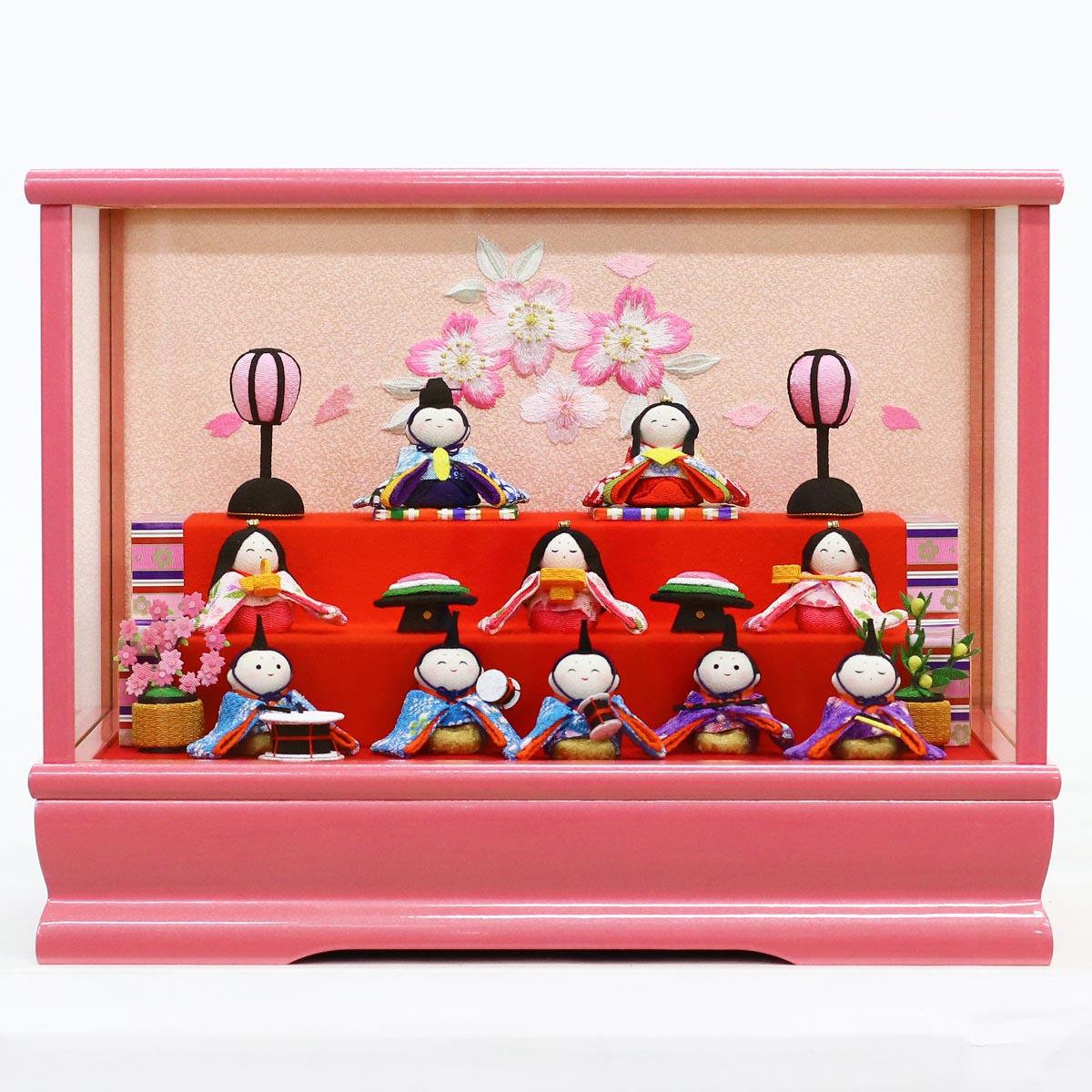 【あす楽_etc】 雛人形 リュウコドウ コンパクト ちりめん雛 プレミアムわらべ雛 10人揃いオルゴール付きケース飾り ピンク 雛人形 HNRK-MRT-E (1-658 303P)ひな人形 かわいい 雛 ひな人形 小さい ミニ