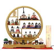 雛人形一秀コンパクト木目込み飾り丸窓竹製円形台十五人飾りお道具揃い雛人形HNIS-ISH-15(14-2)ひな人形雛木目込人形飾り