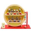 雛人形 リュウコドウ コンパクト ちりめん雛 プレミアム わらべ雛 10人揃い 薄橙塗り 木製 円形台飾り 毛せん・まり飾…