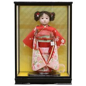 雛人形 松寿 コンパクト 市松人形 松寿作 市松人形 京友禅 赤 桜に桜 ケース入り (HB9) 市松 ICMY-BA26016-19-C (HB9)ひな人形 かわいい おしゃれ インテリア ひな人形 小さい ミニ