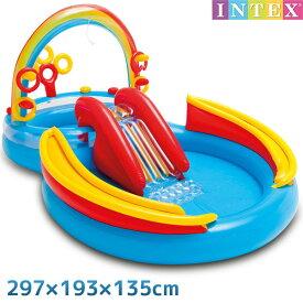 プール レインボーリング プレイセンター 297×193×135cm 対象年齢:3歳以上 SWM-PL-57453INTEX (インテックス) すべり台 滑り台 大型 家庭用プール 子供用 大人用 虹 【あす楽対応】 etc