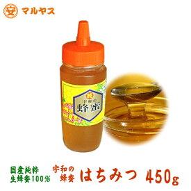 生はちみつ 非加熱 450gボトル ゆうメール160円対象商品 愛媛の安心の国産純粋生蜂蜜100%【宇和のはちみつ】生蜂蜜