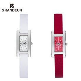 【送料無料】腕時計 レディース 二重巻 白 赤 ホワイト レッド 本革 レザー ウォッチ ダブルトュール グランドールエレガンス Grandeur Elagance ESL023 時計