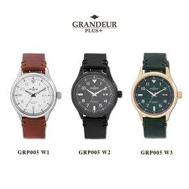 【送料無料】腕時計 メンズ ビッグデイト イタリアンレザー 革ベルト ウォッチ グランドールプラス GRANDEUR PLUS+ GRP005