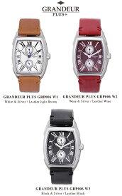 【送料無料】腕時計 メンズ トノー型 ウォッチ カレンダー 付ムーブメント 英国クレイトン社製 ブライドルレザー 革ベルト グランドールプラス GRANDEUR PLUS+ GRP006