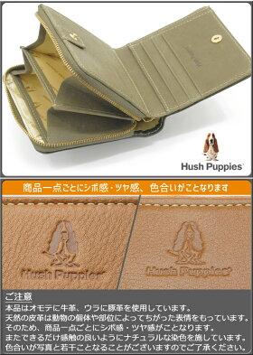 ハッシュパピー財布2つ折りラウンドファスナー小銭入れHushPuppiesニック牛革キャッシュレスコンパクトミニ財布スマートウォレットHP0608