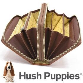ハッシュパピー大きめ長財布ラウンドダブルファスナーポーチ2ルーム全6色持ち手付き通帳収納HushPuppies牛革HP1081