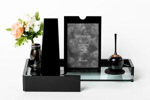 Oilオイル セット モダン位牌ミラッジオ2(黒塗)+cherin mini(黒)+花立ルミエール(シルバーグレイ)