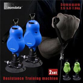 ローイングマシン 2個セット 3段階重量調整 レジスタンス トレーニングマシン トレーニングロープ 筋トレ 吸盤式 運動 ダイエット トレーニング器具 二の腕 トレーニングチューブ nondata 引っ張りトレーニング 送料無料
