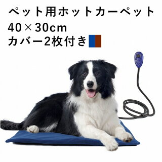ペット用ホットカーペット40×30cm替えカバー2枚付き犬猫ペット暖房防寒ヒーターマットグッズ用品