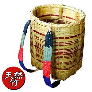 あす楽・送料無料【竹製背負いかご丸型・大】