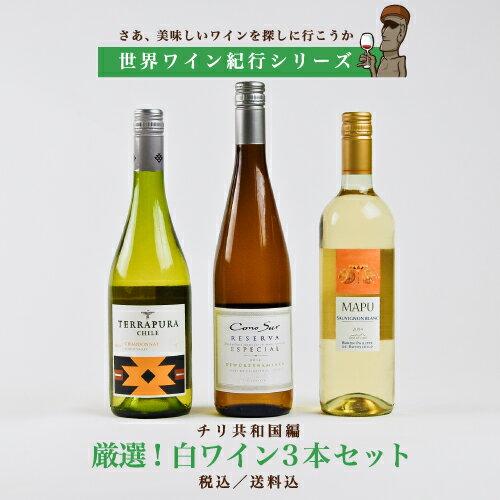 【世界ワイン紀行シリーズ】チリ編 厳選! 《白》ワイン3本セット 【送料無料】