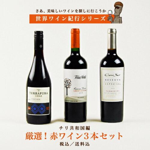【世界ワイン紀行シリーズ】チリ編 厳選! 《赤》ワイン3本セット 【送料無料】