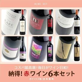 """【ポイント5倍!】 酒宝庫MASHIMO """"世界まる呑み"""" 納得! 赤ワイン6本セット 【送料無料】"""