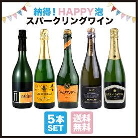 酒宝庫MASHIMO 納得! HAPPY泡・スパークリングワイン5本セット 【送料無料】